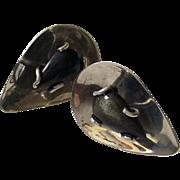 Taxco Black Cats-Eye Sterling Silver Teardrop Earrings c. 1950s
