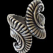 Los Castillo Taxco Sterling Silver Fern Frond Clamper Bracelet, c. 1940s