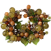 Vintage French Glass Bead Bracelet in Autumn Colors