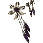 BOOK PIECE Mexican Sterling Silver and Amethyst Bow Pin and Earrings, c. 1945