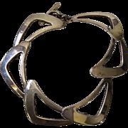 Niels Erik From Denmark Modernist Sterling Silver Boomerang Bracelet