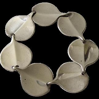 Hans Hansen Denmark Modernist Sterling Silver Lilypad Bracelet, Bent Gabrielsen Design
