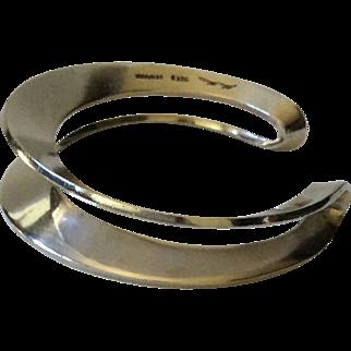 Hans Hansen Denmark Sculptural Modernist Sterling Silver Cuff Bracelet, c. 1970