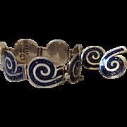 Margot de Taxco Sterling Silver and Enamel Swirl Bracelet and Earrings #5357