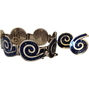 Margot de Taxco Sterling Silver and Enamel Swirl Bracelet and Earrings #5357