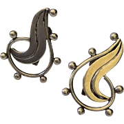 RARE Wm Spratling Taxco Sterling Silver Beaded Swirl Earrings, c. 1940s