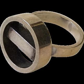 RARE Georg Jensen Denmark Modernist Sterling Silver Ring #122, c. 1970