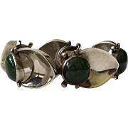 Stunning Taxco Modernist 970 Silver Abstract Link Bracelet with Green Aventurine Cabochons