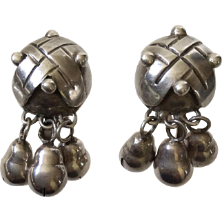 Mexican Modernist Sterling Silver Dangle Earrings, c. 1940s