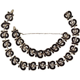 Margot de Taxco Sterling Silver and Enamel Necklace Bracelet Set #5463