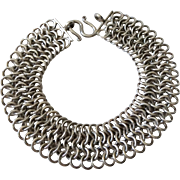 Modernist Sterling Silver Chainmail Bracelet