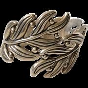 Margot de Taxco Sterling Silver Leaf and Berry Clamper Bracelet by Hilario Lopez