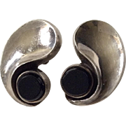 "Antonio Pineda Taxco Sterling Silver and Onyx ""Comma Earrings"""