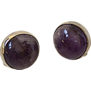 William Spratling Taxco Sterling Silver Amethyst Cabochon Earrings, c. 1940s