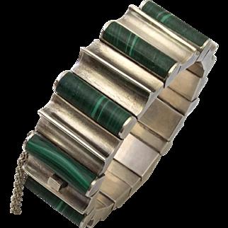 Superb 162 gr Monteros Taxco Mexican Modernist 970 Silver and Malachite Bracelet