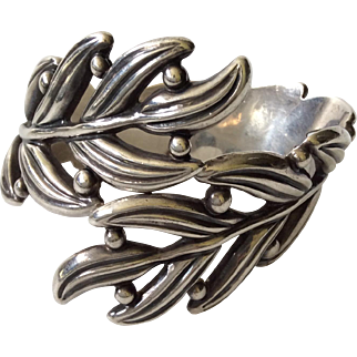 Margot de Taxco Sterling Silver Leaf and Berry Clamper Bracelet by Hilario Lopez
