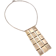Taxco Sterling Silver Modernist Necklace by Melisio Rodriguez