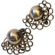 """William Spratling Taxco Sterling Silver """"Lace Moons"""" Earrings, c. 1940s"""