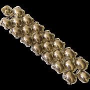 "Enormous Taxco Modernist Sterling Silver ""Pillow"" Bracelet, 144 grams!"
