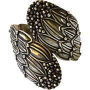 Hilario Lopez Sterling Silver Repoussé Corn Flower Clamper Bracelet from Margot de Taxco Original Molds