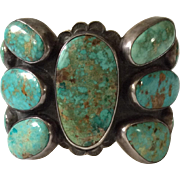 Spectacular Federico Jimenez Vintage Sterling Silver and Turquoise Cuff Bracelet, 142 grams