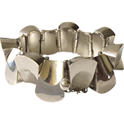 "Antonio Pineda Taxco Iconic Sterling Silver MidCentury Modernist ""Thumbprint"" Bracelet, 150 grams: Book Piece"