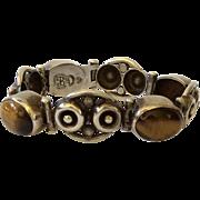 Los Ballesteros Taxco Art Deco Sterling Silver and Tiger's Eye Bracelet, c. 1940s