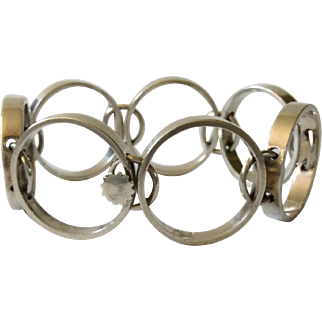 RARE Hans Hansen Denmark MidCentury Sculptural Sterling Silver Bracelet, Bent Gabrielsen Design
