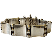 "Hector Aguilar Taxco Handwrought 940 Silver ""Book and Beads"" Bracelet c. 1940s, BOOK PIECE"