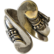 Hilario Lopez Sterling Silver Clamper Bracelet, Margot de Taxco Design