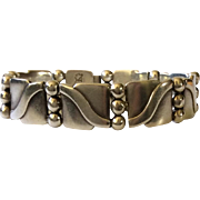 """Hector Aguilar Taxco Handwrought 940 Silver """"Lyre"""" Bracelet c. 1940s, BOOK PIECE"""