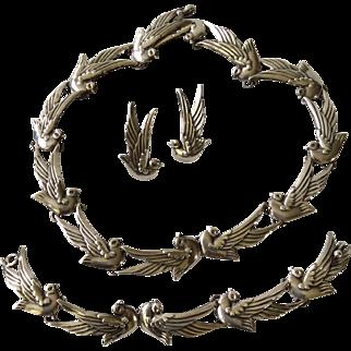 1940s Los Castillo Taxco Sterling Silver Dove Necklace, Bracelet, and Earrings #552, Margot de Taxco Design