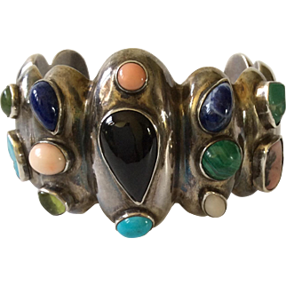 Vintage Taxco Sterling Silver Jeweled Cuff Bracelet with Onyx, Turquoise, Lapis Lazuli, Coral, Peridot and Malachite