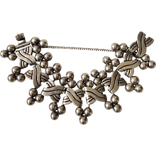 "RARE Hector Aguilar Taxco Handwrought Sterling Silver ""Six Spheres"" Bracelet for Coro c. 1940s, BOOK PIECE"
