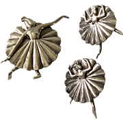 Margot de Taxco MidCentury Sterling Silver Ballerina Brooch/ Pin and Earrings #5200