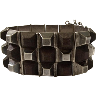"William Spratling Taxco Iconic Sterling Silver and Ebony ""Pyramid"" Bracelet c. 1940,  Book Piece"