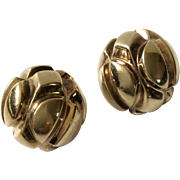 Patricia Von Musulin Modernist Sterling Silver Earrings with Gold Vermeil