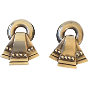 1940s William Spratling Taxco Sterling Silver Beaded Ribbon Earrings
