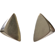 Hans Hansen Denmark MidCentury Modernist Sculptural Sterling Silver Triangular Earrings, Bent Gabrielsen Design