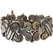 RARE Hector Aguilar Taxco Handwrought 990 Sterling Silver Fertility Bracelet, 106 GR  1940s BOOK PIECE