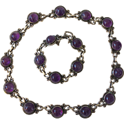 RARE Los Castillo Taxco Sterling Silver and Amethyst Necklace and Bracelet # 799