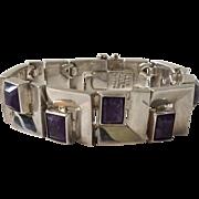 120 GR Mexican Modernist Sterling Silver and Amethyst Bracelet
