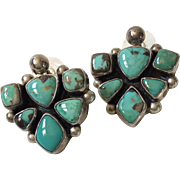 Signed Raymond Beard Navajo Turquoise and Sterling Silver Pierced Earrings