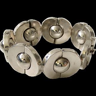 """120 GR Los Ballesteros Taxco Modernist Sterling Silver """"Saturns"""" Bracelet"""