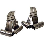William Spratling Taxco Modernist Sterling Silver Ribbon Earrings