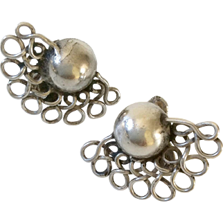 """William Spratling Taxco Modernist Sterling Silver """"Lace Moons"""" Earrings, c. 1940s"""