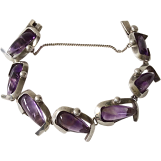 Antonio Pineda Taxco 970 Sterling Silver Modernist Amethyst Bracelet