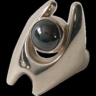 Georg Jensen Denmark Modernist Sterling Silver Hematite Ring #139 by Henning Koppel