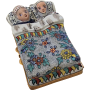 Limoges Hand-Painted Porcelain Trinket Box: Couple Tucked in Bed