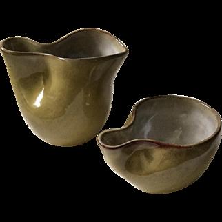 Signed Eugene Deutch MidCentury Art Pottery Sugar Creamer Set, MINT CONDITION